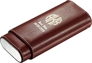 Personalized Leather Cigar Case with Free Imprinting (Brown)