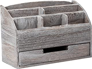 Rustic Wooden Desk Organizer with Mail Slot (14.3 x 9.5 in.)