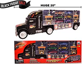 Long Carrier Truck Toy Car Transporter Includes 6 Metal Cars & 28 Slots by Chipim