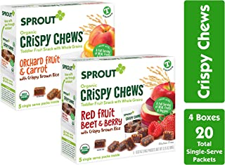 Sprout Organic Crispy Chews Toddler Snacks, Variety Pack, 5 Count Box of 0.63 Ounce Single Serve Packets (Pack of 4) 2 Boxes Each: Red Fruit Berry & Beet and Orchard Fruit & Carrot