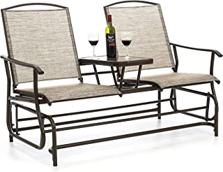 Best Choice Products 2-Person Outdoor Mesh Patio Double Glider w/Tempered Glass Attached Table, Tan