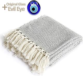 Luxury Throw Blanket with Fringe 100% Cotton for Chair, Couch, Boho Farmhouse Rustic Decor. Turkish Towel Ultra-Soft + Evil Eye Peshtemal Beach Bath Spa Sauna Gym Yoga Picnic (Grey Chevron, 40