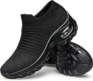 YHOON Women's Walking Shoes - Sock Sneakers Slip on Mesh Platform Air Cushion.