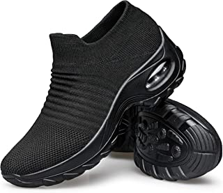 YHOON Women's Walking Shoes - Sock Sneakers Slip on Mesh Platform Air Cushion Athletic Shoes Work Nurse Comfortable Black 6.5