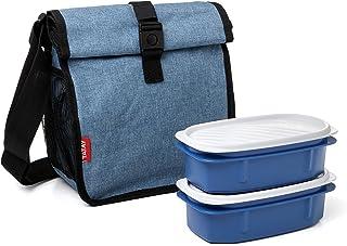 comprar comparacion TATAY Urban Food Roll&Go Denim Blue - Bolsa térmica porta alimentos enrollable con 2 tápers herméticos incluidos, 4.2 l, t...