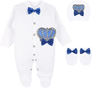 Lilax Baby Boy Newborn Crown Jewels Layette 3 Piece Gift Set 0-3 Months