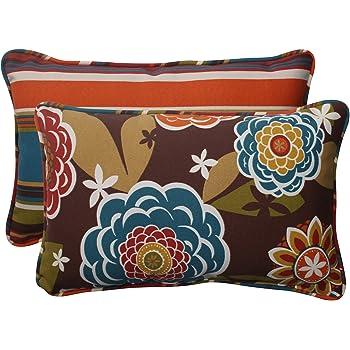 "Pillow Perfect Outdoor/Indoor Annie Chocolate/Westport Teal Lumbar Pillows, 11.5"" x 18.5"", Reversible, 2 Pack"