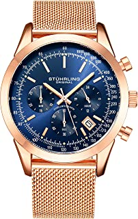 Stuhrling Original Men'S Quartz Chronograph Date Watch, Rose Tone Alloy Case, Blue Dial, Rose Tone Stainless Steel Mesh Bracelet - 3975.8,