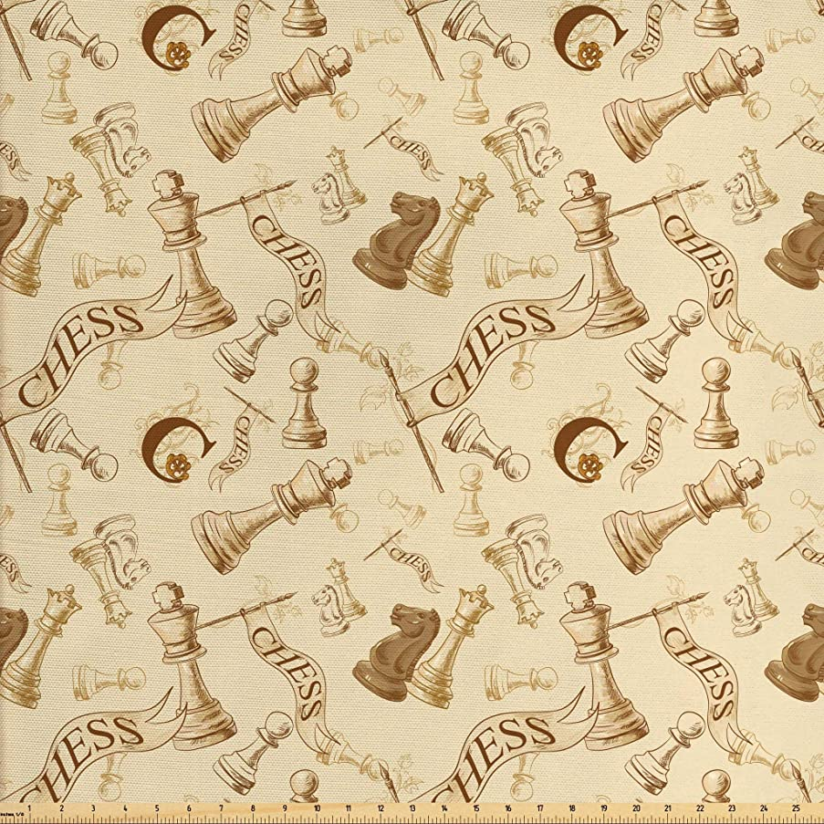 Ambesonne Beige Fabric by The Yard, Various Sized Chess Game Pieces Players in Vintage Style Retro Background Urban Bohemian, Decorative Fabric for Upholstery and Home Accents, 1 Yard, Beige