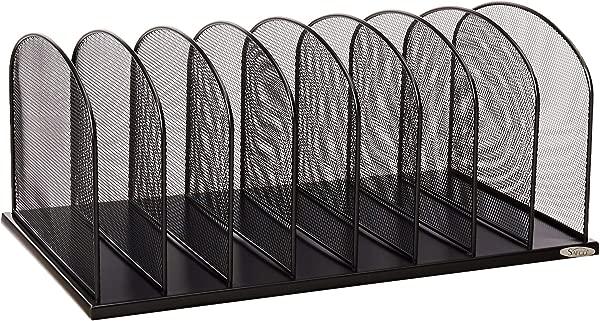 Safco 产品 Onyx Mesh 8 Sort Vertical Desktop 整理袋 3253BL 黑色粉末涂层饰面耐用钢网结构环保