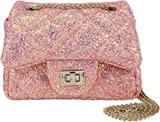 CMK Trendy Kids Sparkly Glitter Toddler Kids Purse for Girls Quilted Little Girl Purses