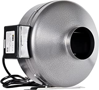 iPower GLFANXINLINE8 8 Inch 750 CFM Inline Duct Ventilation Fan HVAC Exhaust Blower for Grow Tent, Grounded Power Cord, Grey
