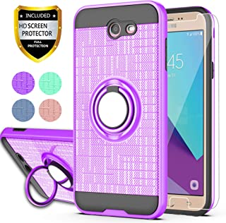 YmhxcY Galaxy J7 Perx/Galaxy J7 Prime/J7 V/J7 Sky Pro/Halo Case with HD Phone Screen Protector, 360 Degree Rotating Ring & Bracket Dual Layer Resistant Back Cover for Samsung J7V 2017-ZH Purple