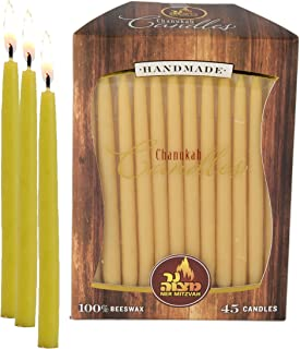 Ner Mitzvah Beeswax Chanukah Candles - Standard Size Fits Most Menorahs - Premium Quality Pure Bees Wax - Yellow - 45 Count for All 8 Nights of Hanukkah