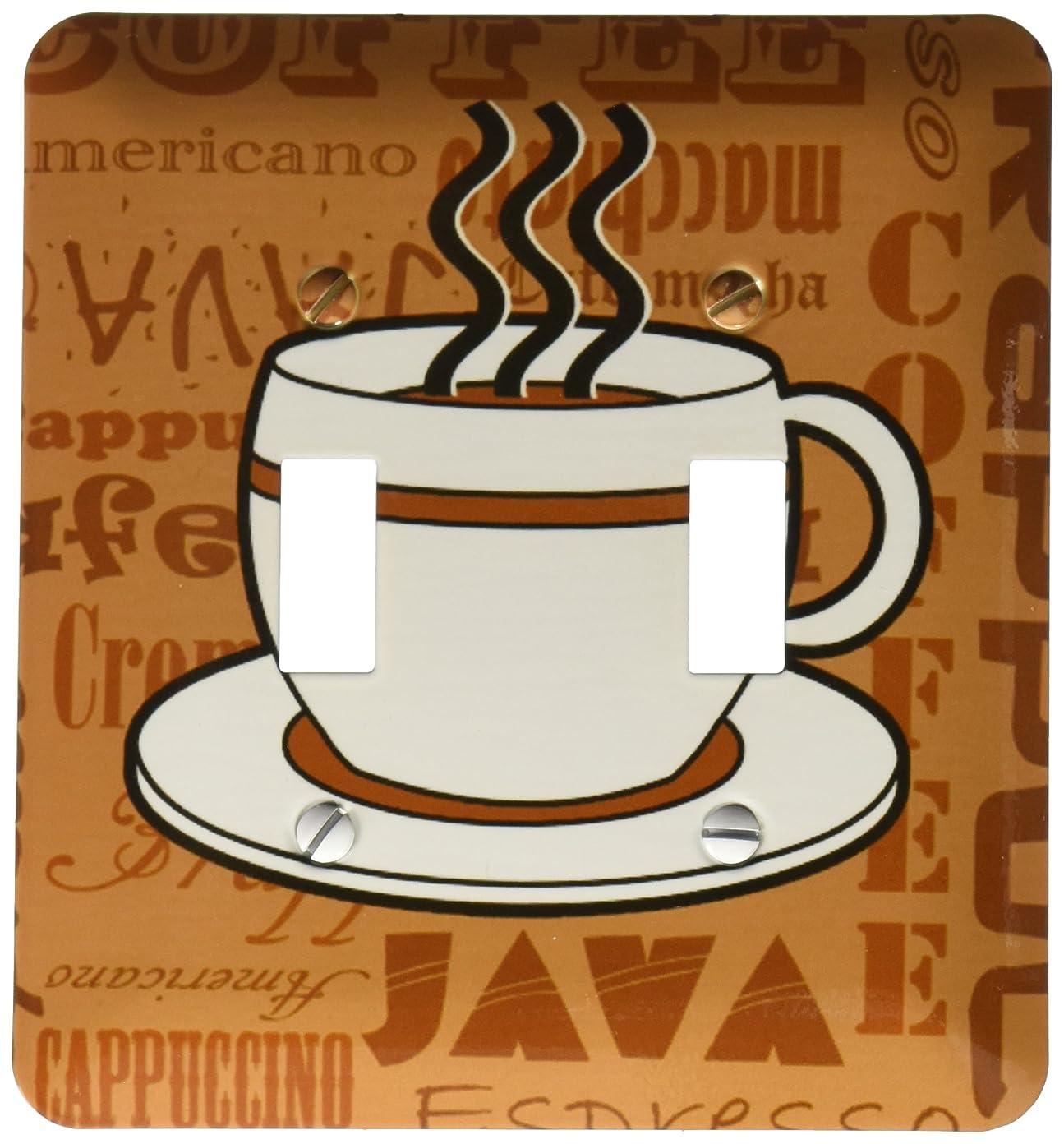 出力破裂代わりに3drose LSP 58641?_ 2コーヒー好きギフトコーヒー単語印刷ブラウンライトスイッチカバー