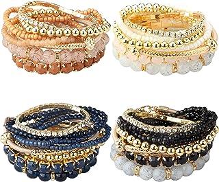 Milacolato 4 Ensembles Bracelets Empilables pour Femmes Filles Multicouche Bracelets De Perles Stretch Bangles Style Bohème