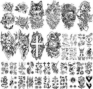 Yazhiji 40 Vellen Grote Sexy Bloemen Collectie Waterdichte Tijdelijke Tatoeages Blijvende nep Tattoo voor Vrouwen en Meisjes.