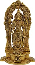 Lord Vishnu Standing in a Traditional Prabhavali with Garuda in Obeisance at His Feet - Brass Statue