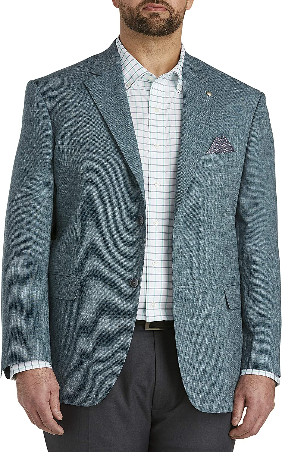 Oak Hill by DXL Big and Tall Jacket-Relaxer Textured Solid Sport Coat, Teal