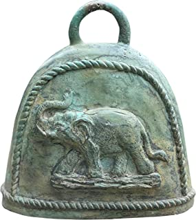Handmade Thai Temple Bell - Lucky Elephant Decorative Cowbell - Large Hanging Buddhist Bell from Thailand - Authentic Cast...