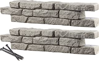 RTS Home Accents Rock Lock Interlocking Border System Straight Section With Spikes, 48-Inch Long, 2-Pack