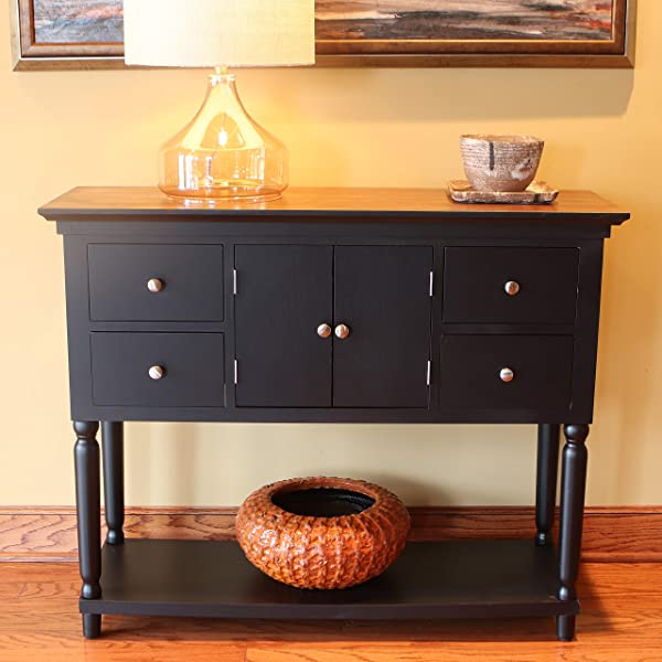D Cor Therapy FR8452 Taylor Four Drawer Console Table Black