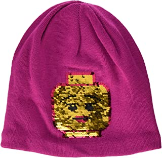 LEGO Wear Girls Snow Beanie With Character On Front, Dark Pink, 12-13 Yr