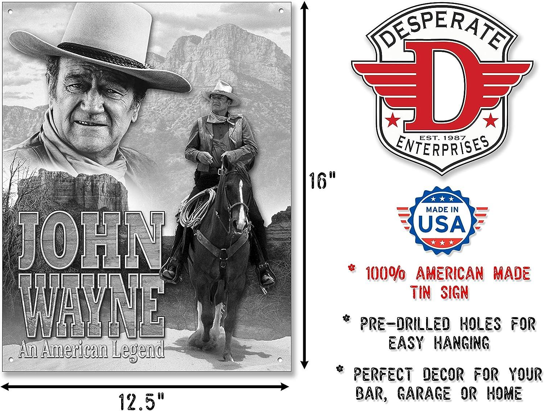 John Wayne Qoute Never Apologize Never Explain TIN SIGN Metal Poster Wall Decor