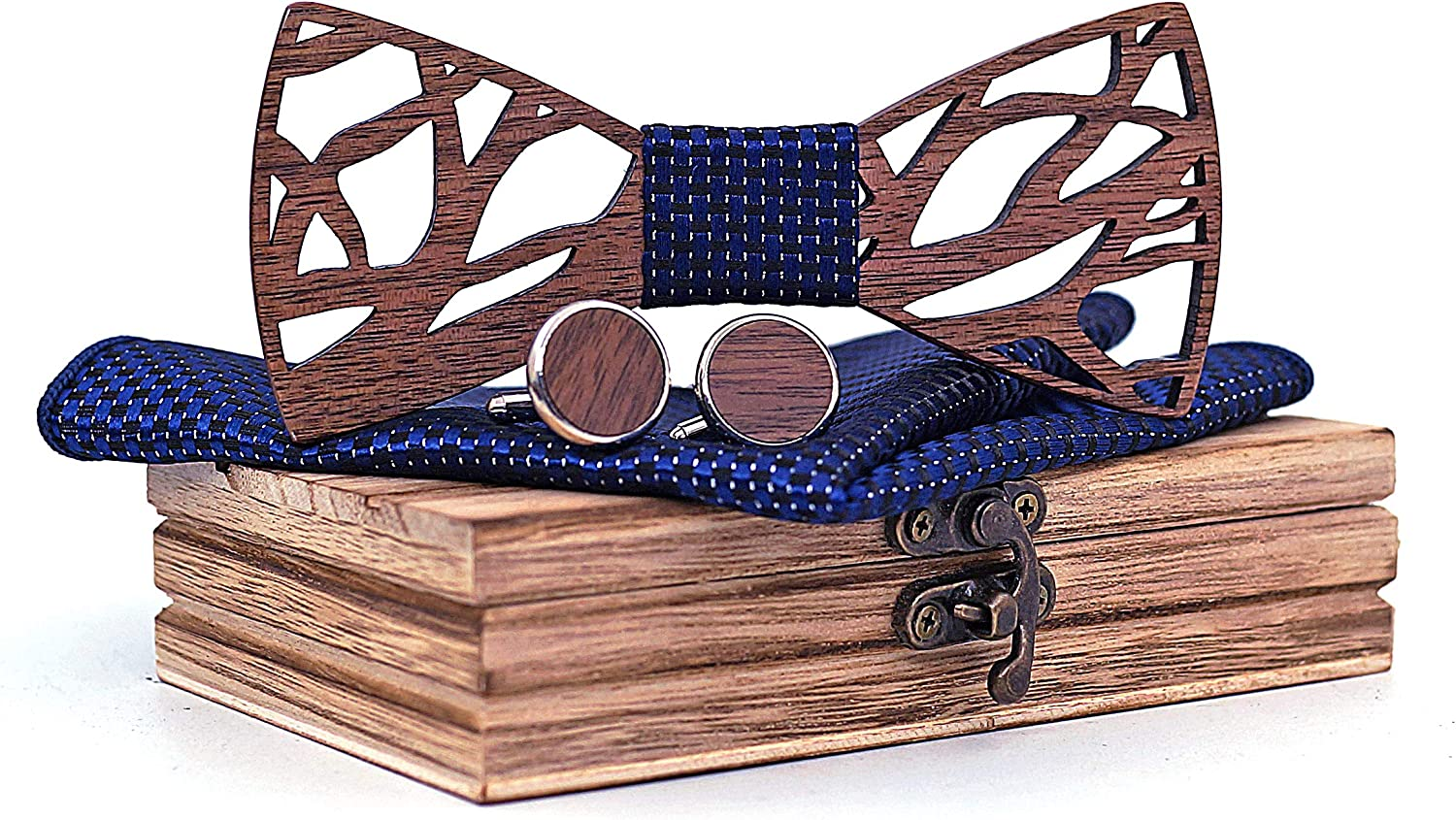 Mahoosive Men's Wood Bow Tie and With Wooden Cas Hankerchief Set Max 48% OFF Sale special price