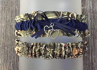 Camouflage Navy Blue Satin Camo Wedding Bridal Garter SET - Double Heart Charm