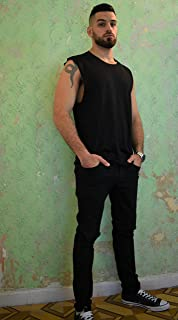 Men's Black Tank Top Sleeveless Shirt, Size M, Loose Fit Wide Training Sports Everyday Wear for Men, Casual Basic Clothing