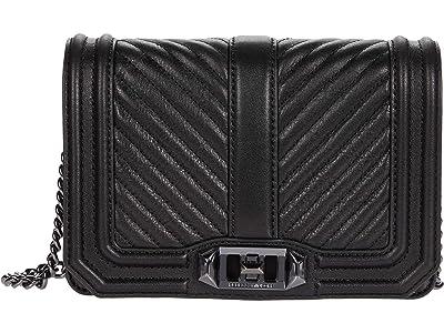Rebecca Minkoff Chevron Quilted Small Love Crossbody (Black 3) Cross Body Handbags