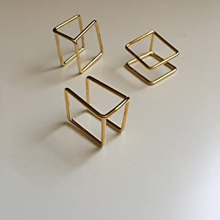 SunJewel gold geometric double square ring