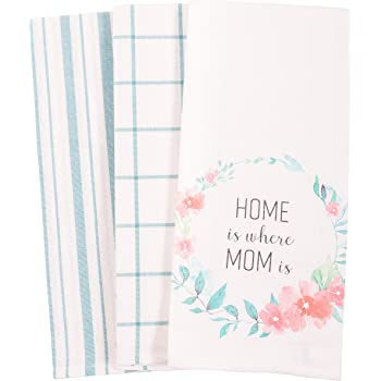100 Percent Cotton Kaf Home Bloom Mother S Day Dish Towel Set Of 3 18 X 28 Inch I Love You Dish Cloths Dish Towels Home Kitchen
