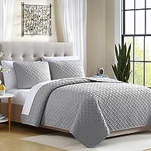 Ellison Ardmore Solid Lattice Quilt Set, Twin, Gray