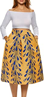 Afibi Women's Vintage Floral Skater Pleated Print Casual Swing Skirt