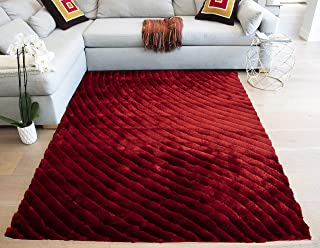 LA 3D Designer Shag Shaggy Hand-Woven 3-Dimensional Thick Pile Plush Fluffy Fuzzy Furry Flokati Decorative 8-Feet-by-10-Feet Polyester Made Area Rug Carpet Rug Deep Red Dark Red Burgundy Colors