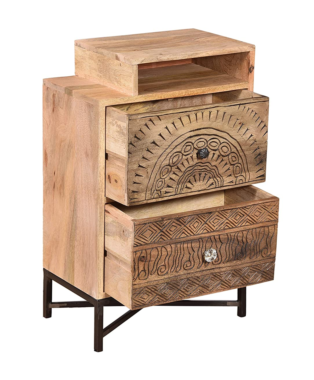 Wooden Carving 2 Drawer Open shelf Bedside Table Handmade Lamp Stand Side Table Wooden Hand carved side Table End Table