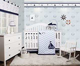 GEENNY OptimaBaby Nautical Explorer Sailor 6 Piece Baby Nursery Crib Bedding Set