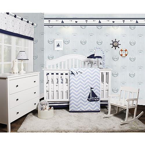 Charmant GEENNY OptimaBaby Nautical Explorer Sailor 6 Piece Baby Nursery Crib  Bedding Set