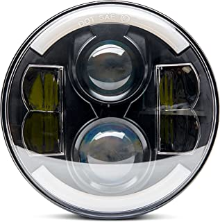 ANR Premium Universal Super Bright Black 7 in Round Led Headlight halo Angel Eye Harley Davidson Road King Street Glide Ultra Classic Electra Heritage Soft Fat Boy Deluxe Yamaha Royal Star Road Star