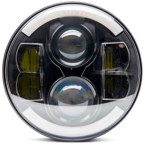 ANR Premium Universal Super Bright Black 7 in Round Led Headlight halo Angel Eye Harley Davidson