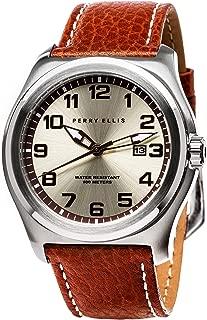 Perry Ellis Men's Watch Memphis 44mm Quartz Watch with Date Genuine Leather Band Waterproof