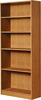 Mylex Five Shelf Bookcase; Three Adjustable Shelves; 11.63 x 29.63 x 71.5 Inches, Oak, Assembly Required