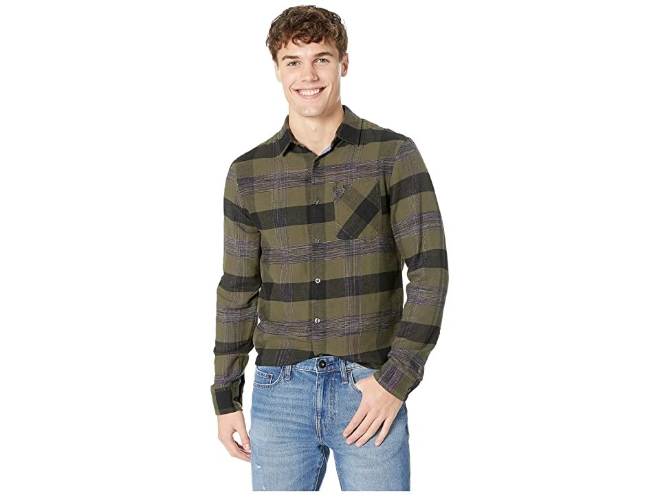 Original Penguin Long Sleeve Space Dye Woven Flannel Non-Stretch Shirt (Bronze Green) Men