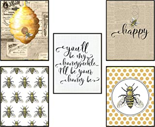Silly Goose Gifts Home is Where Your Honey is - Art Print Watercolor Design Wall Room Home Bathroom Decor Set - Bee A Nice...