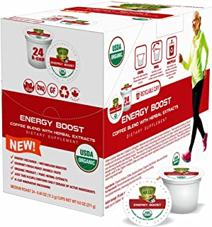 SOLLO Energy Boost Coffee Brew Single Serve Pods With Superfoods Compatible With 2.0 K-Cup Keurig Brewers, 2X Organic Natural Caffeine, Intense Energy Focus, Guarana, Acai, Goji Extract, 24 Capsules