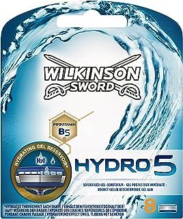 Wilkinson Sword Hydro 5 - Cargador de 8 cuchillas de afeitar masculinas de cinco hojas Wilkinson Hydro 5 con dosificador de gel para máxima hidratación.