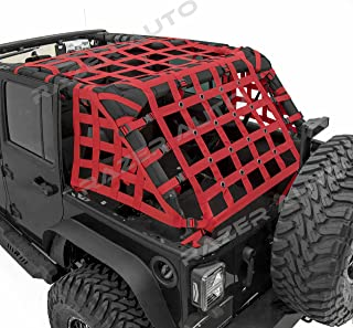 Razer Auto 4 Door Model Only Red Cargo Restraint Net System Trail Cargo Net (Red) for 07-18 Jeep Wrangler JK