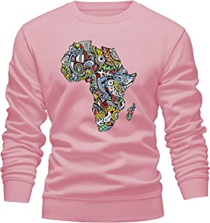 Men/Women/Unisex Afro Map Long Sleeve Crewneck Pullover Sweatshirt African Design Jumper Soft Fleece Sweater